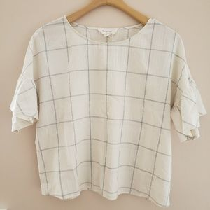 White and silver grid Vince Camuto Blouse
